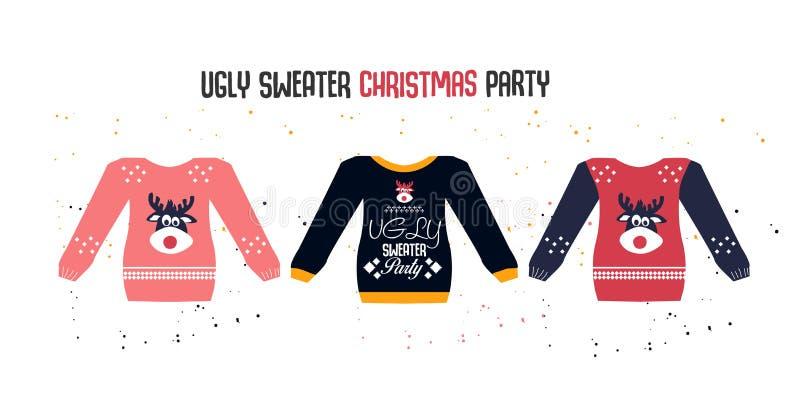 Feliz Navidad del suéter feo y Feliz Año Nuevo ilustración del vector