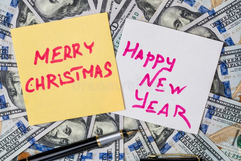 Feliz Navidad del texto y Feliz Año Nuevo imágenes de archivo libres de regalías