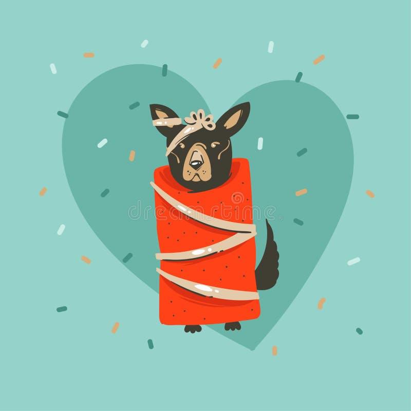 Feliz Navidad del vector de la mano de la diversión exhausta del extracto y nueva tarjeta de felicitación feliz del ejemplo de la stock de ilustración