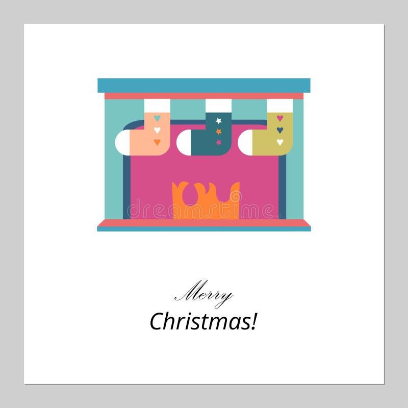 Feliz Navidad, diseño de tarjeta de la Feliz Año Nuevo Calcetines planos abstractos de Navidad en símbolo tradicional de las vaca libre illustration