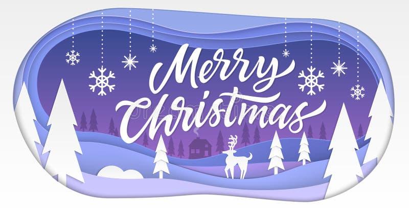Feliz Navidad - el papel moderno del vector cortó el ejemplo libre illustration