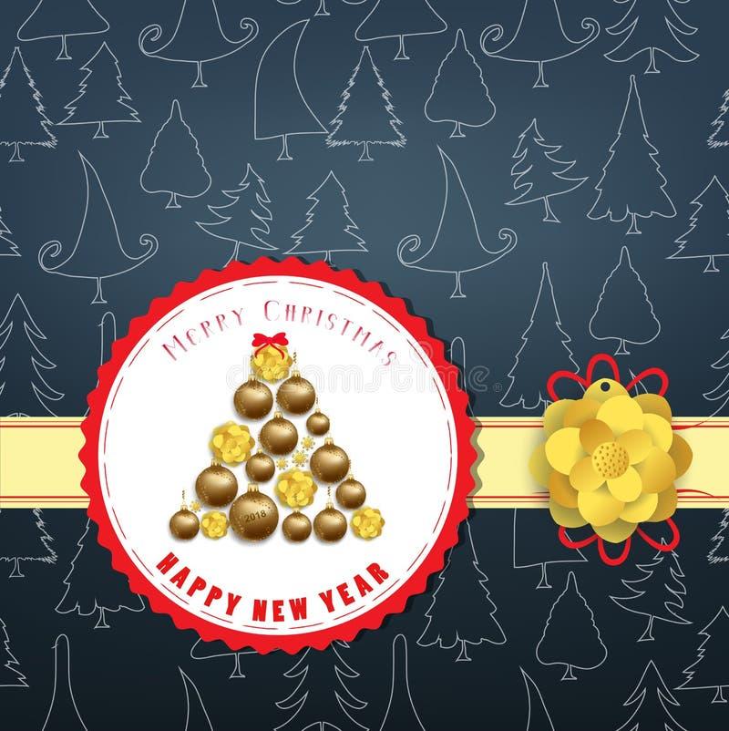 Feliz Navidad elegante de lujo y cartel de la Feliz Año Nuevo Línea árbol del garabato y bolas de la Navidad del oro stock de ilustración