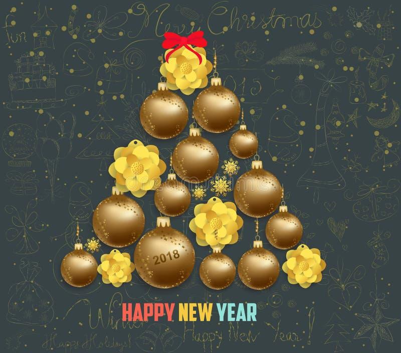 Feliz Navidad elegante de lujo y cartel de la Feliz Año Nuevo Línea icono del garabato y bolas de la Navidad del oro stock de ilustración