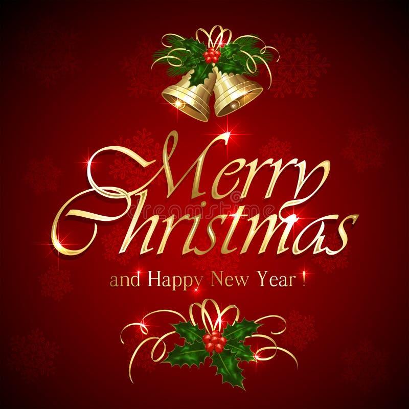 Feliz Navidad en fondo rojo ilustración del vector