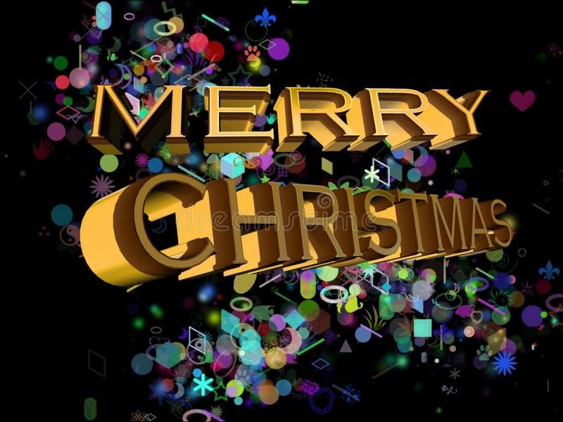 Feliz Navidad en inglés en un fondo negro y decoraciones múltiples del color libre illustration