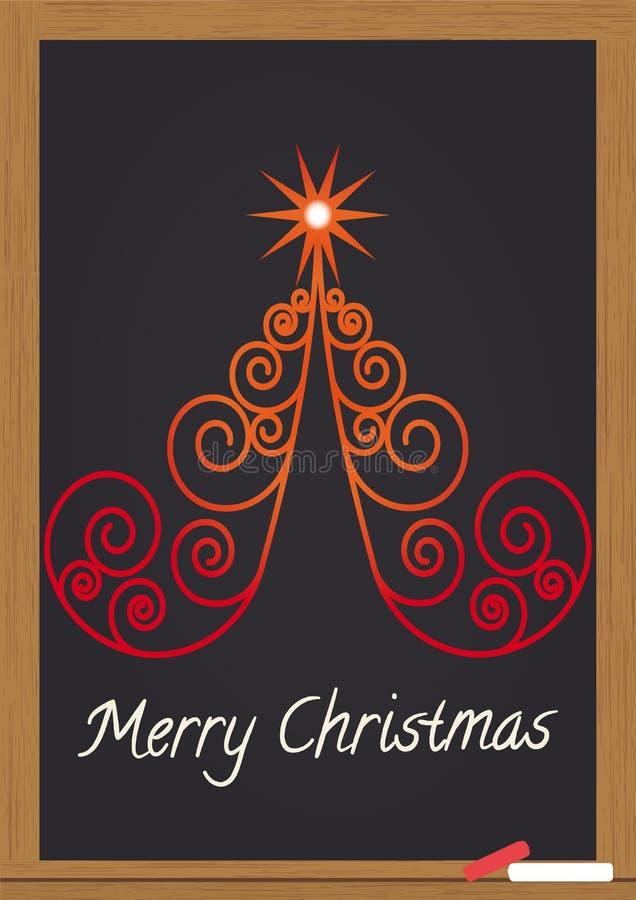 Feliz Navidad en la pizarra ilustración del vector