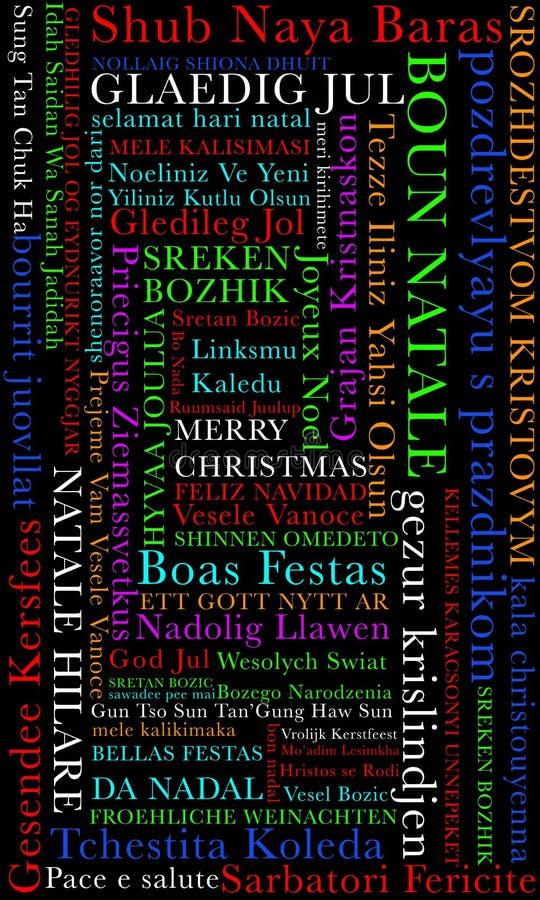 Feliz Navidad en muchos lenguajes ilustración del vector