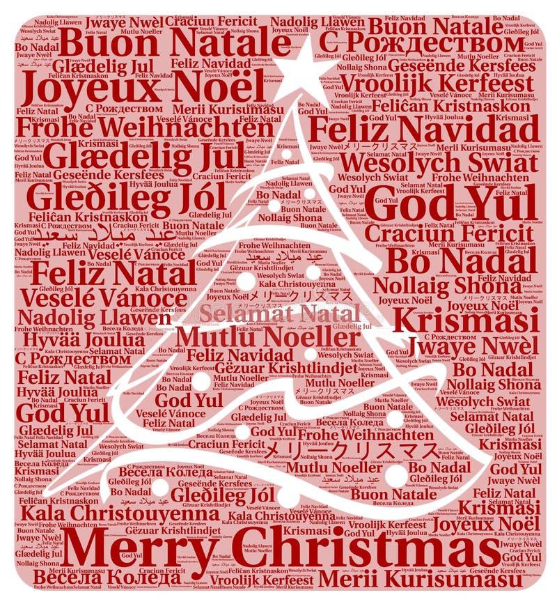 Feliz Navidad en nube de la palabra de los otros idiomas ilustración del vector