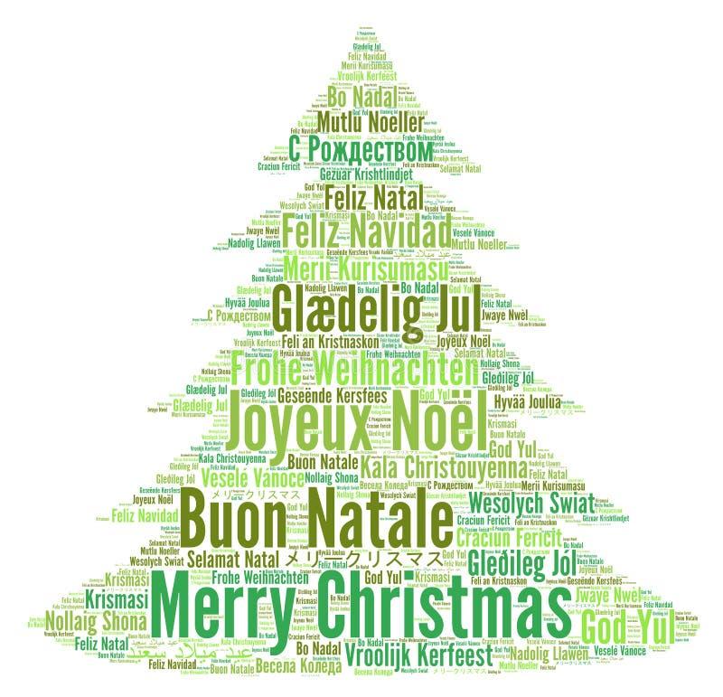 Feliz Navidad en nube de la palabra de los otros idiomas stock de ilustración