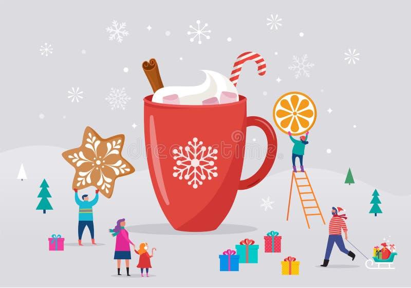 Feliz Navidad, escena del invierno con una taza grande del cacao y una pequeña gente, hombres jovenes y mujeres, familias que se  stock de ilustración