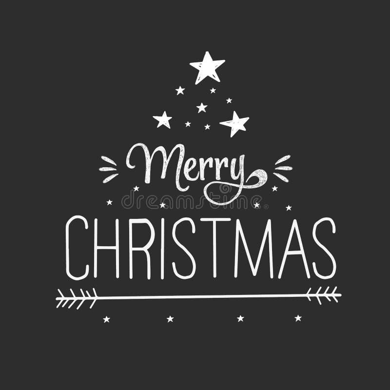 Feliz Navidad exhausta de la tarjeta de felicitación de la mano del vector Ejemplo blanco y negro con las estrellas y las letras  stock de ilustración