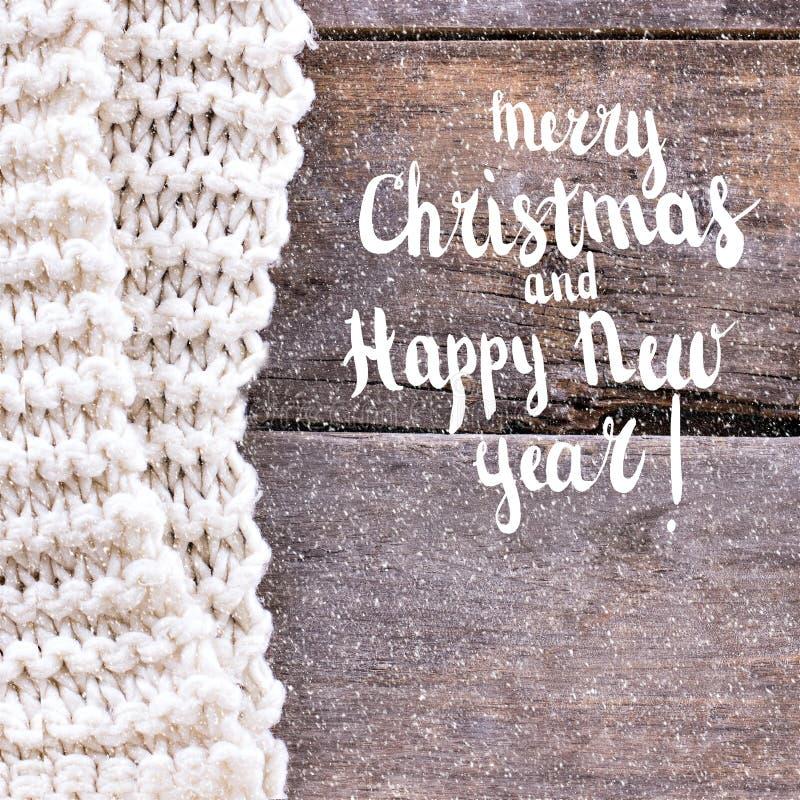 Feliz Navidad festiva de la tarjeta de felicitación y Feliz Año Nuevo foto de archivo