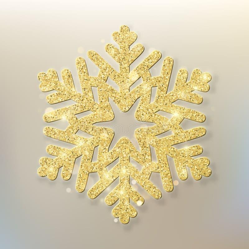 Feliz Navidad Fondo beige con oro y el copo de nieve brillante del brillo EPS 10 ilustración del vector