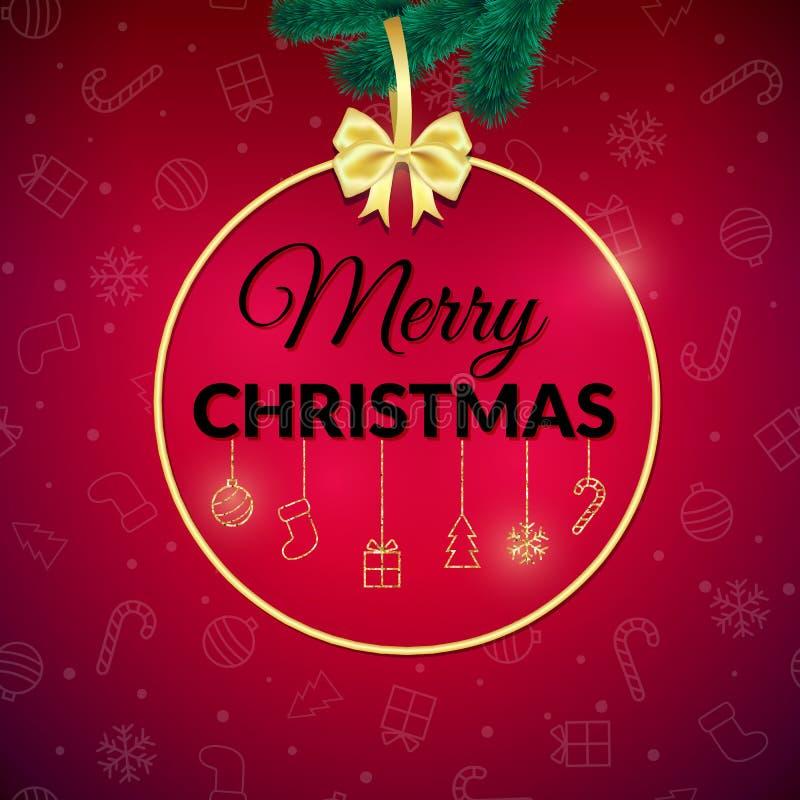Feliz Navidad Fondo del día de fiesta Tarjeta de felicitación de Navidad con la chuchería cartel ilustración del vector