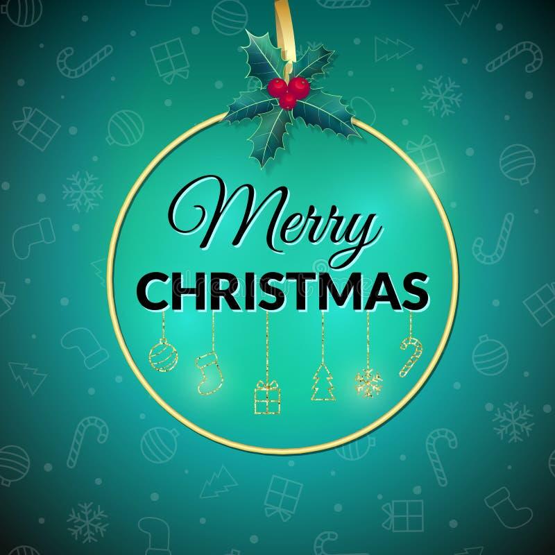 Feliz Navidad Fondo del día de fiesta Tarjeta de felicitación de Navidad con la chuchería cartel libre illustration