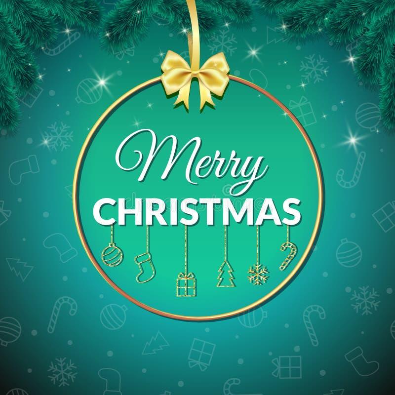 Feliz Navidad Fondo del día de fiesta Tarjeta de felicitación de Navidad con la chuchería cartel stock de ilustración