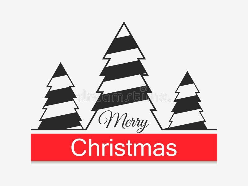 Feliz Navidad Fondo festivo con el icono linear de los árboles de navidad Vector ilustración del vector