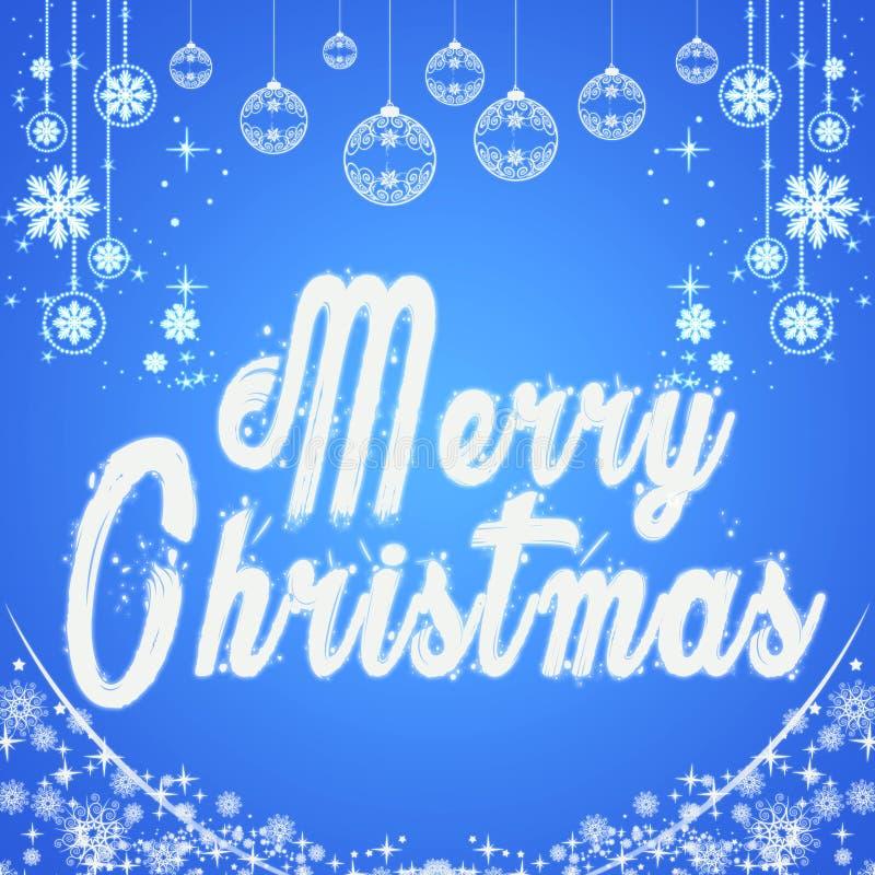 Feliz Navidad Fondo tipográfico con los copos de nieve Elemento original del diseño Plantilla, tarjeta, cartel gráficos del emble libre illustration