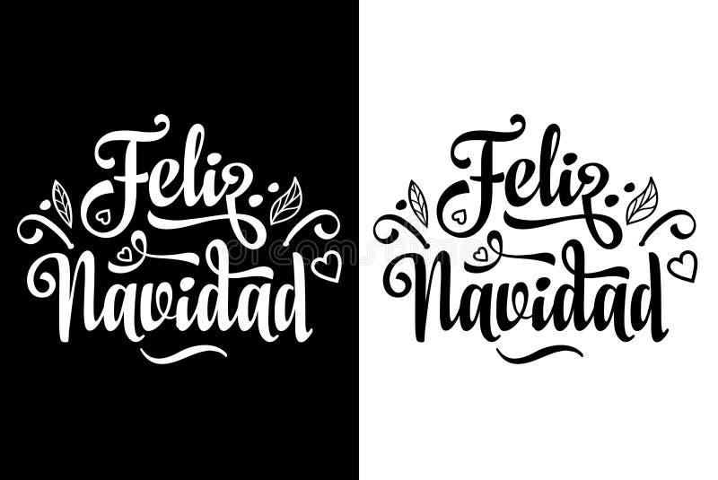 Feliz Navidad glad jul som märker sammansättning med uttryck i spanskt språk royaltyfri illustrationer