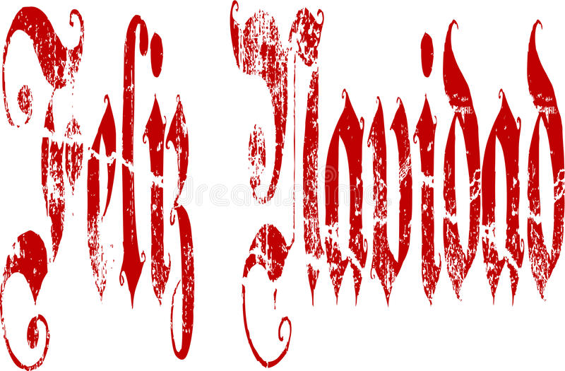 Feliz Navidad Gothic Script Lettering ilustração royalty free