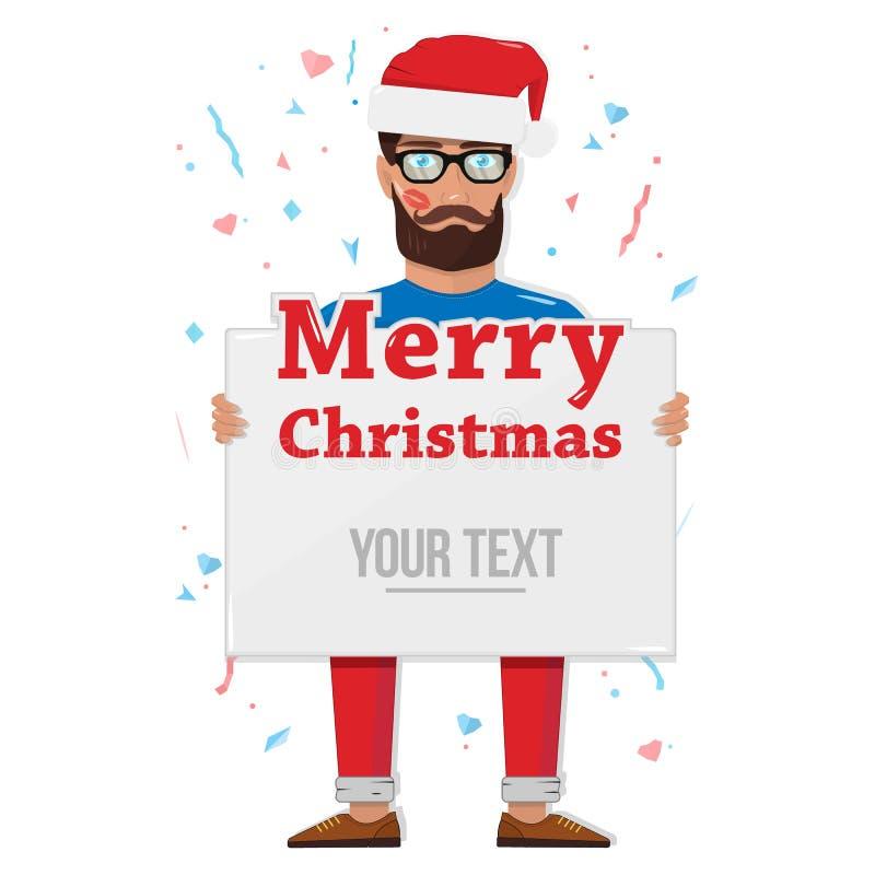 Feliz Navidad, hombre con el tablero stock de ilustración