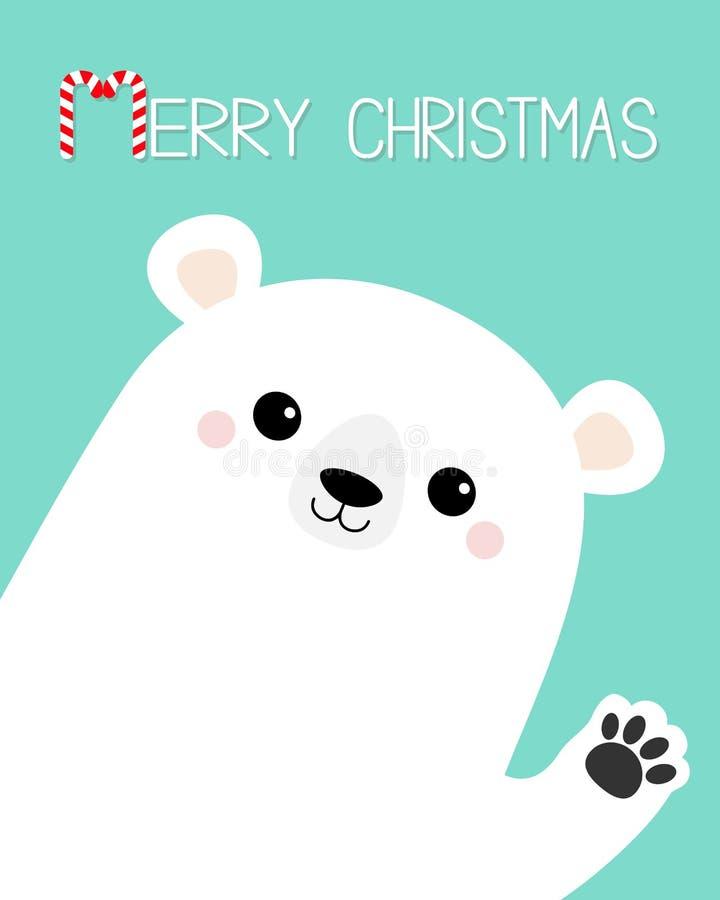Feliz Navidad Impresión blanca grande de la pata de la mano del oso que agita polar Carácter divertido del bebé del kawaii de la  ilustración del vector