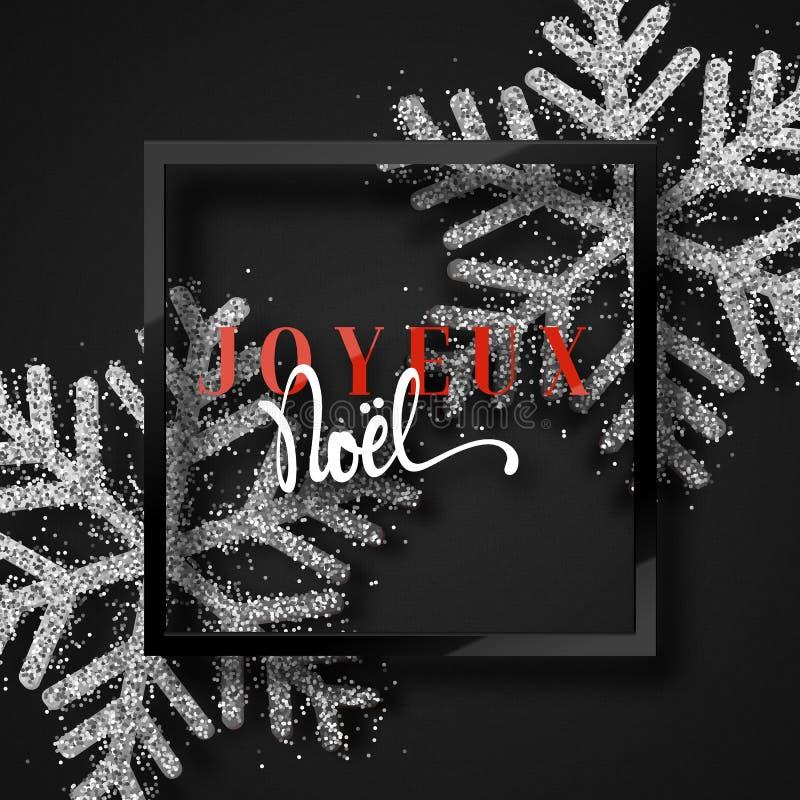 Feliz Navidad Inscripción francesa Joyeux Noel stock de ilustración