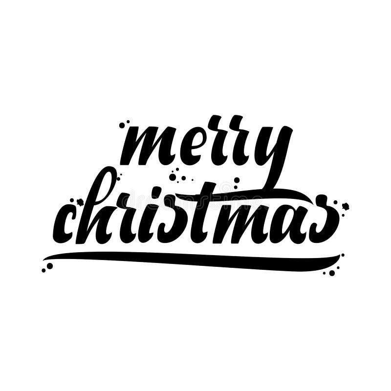 Download Feliz Navidad, Insignia De Navidad Con Las Letras Manuscritas Ilustración del Vector - Ilustración de holiday, cartel: 100534862