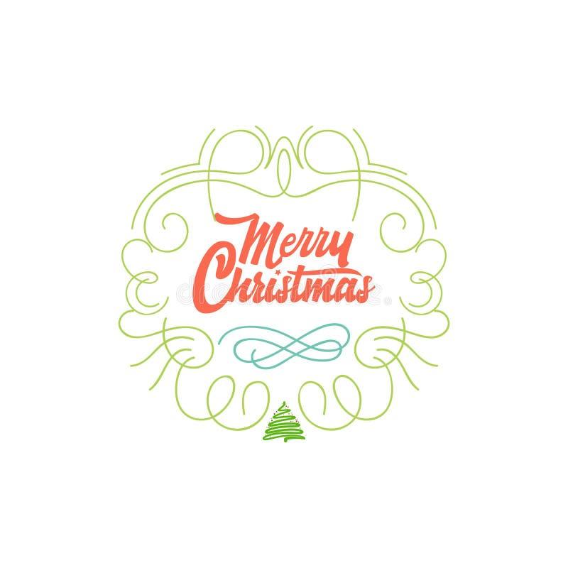 Download Feliz Navidad, Insignia De Navidad Con Las Letras Manuscritas Ilustración del Vector - Ilustración de invitación, creativo: 100535049