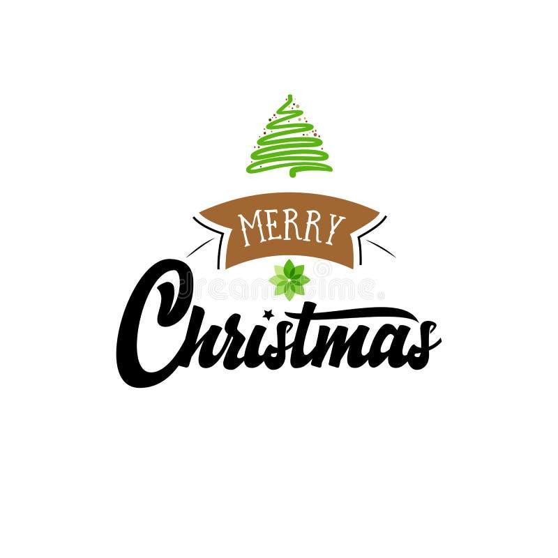 Download Feliz Navidad, Insignia De Navidad Con Las Letras Manuscritas Ilustración del Vector - Ilustración de decoración, decorativo: 100535454