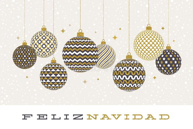 Feliz navidad - julhälsningar i spanskt - mönstrade guld- struntsaker på en vit bakgrund vektor illustrationer