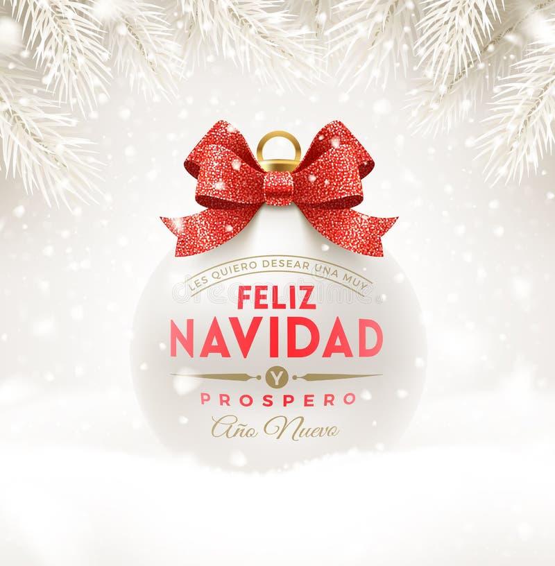 Feliz navidad - Kerstmisgroeten in het Spaans Schittert de Kerstmis witte snuisterij met rood booglint en type ontwerp royalty-vrije illustratie