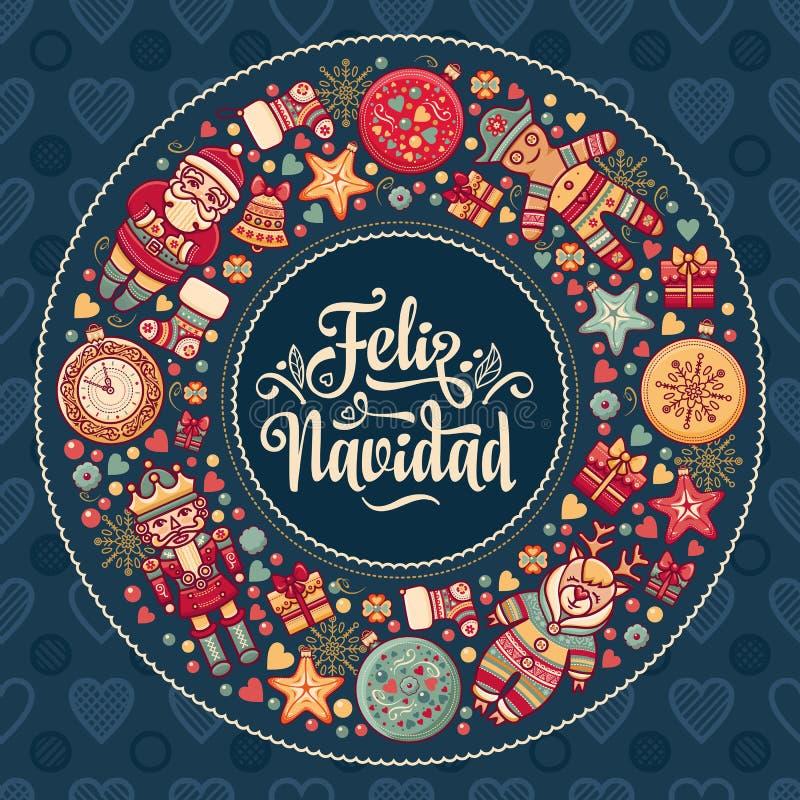 Feliz Navidad Kerstmiskaart op Spaanse taal Warme wensen voor gelukkige vakantie vector illustratie