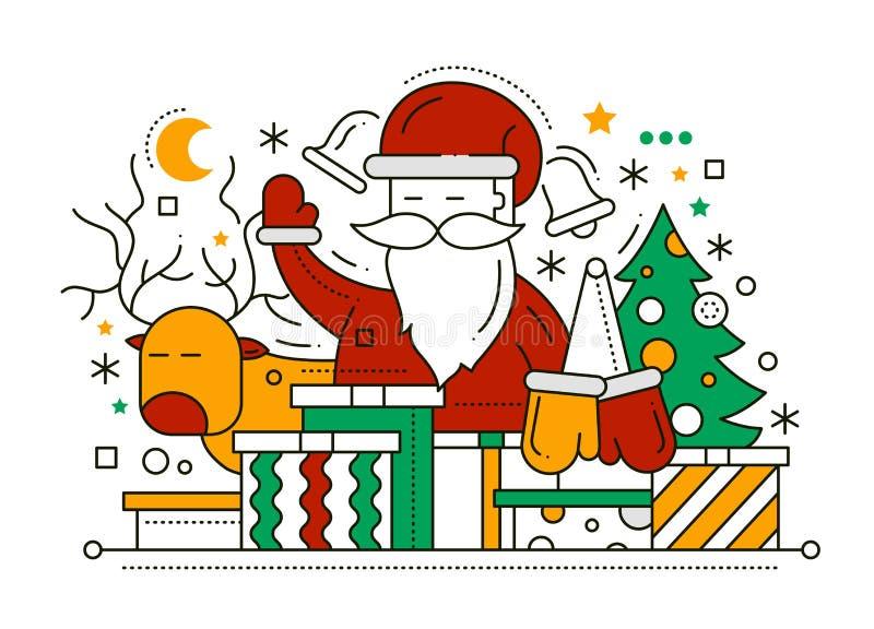 Feliz Navidad - línea tarjeta del diseño stock de ilustración