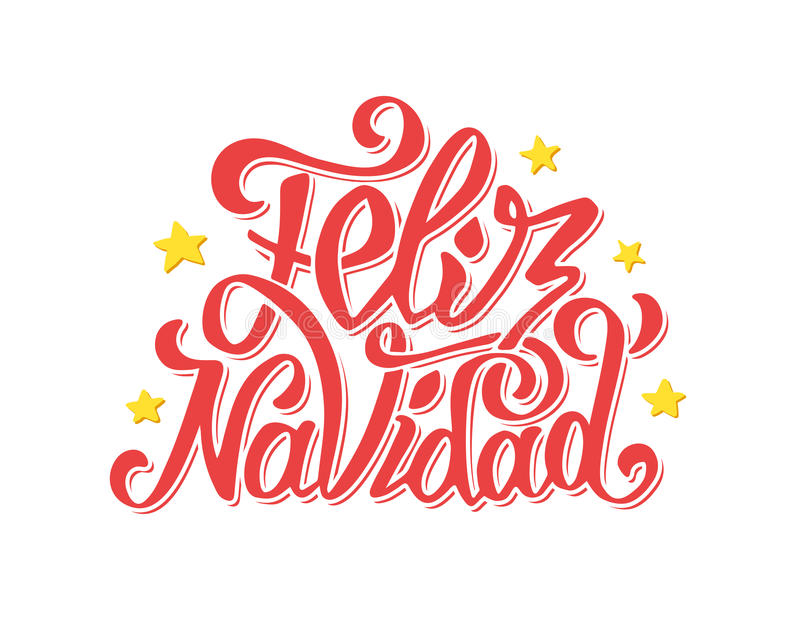 Feliz Navidad Lettering Merry Christmas Greetings Stock