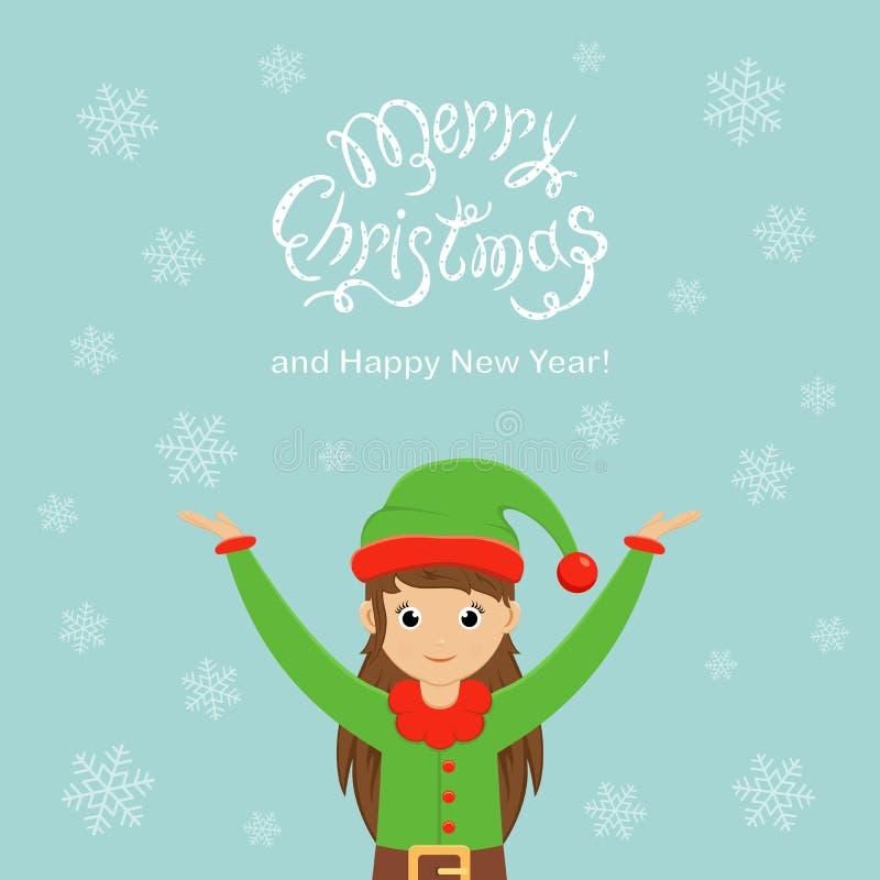 Feliz Navidad linda del duende y del texto y Feliz Año Nuevo en un fondo azul stock de ilustración