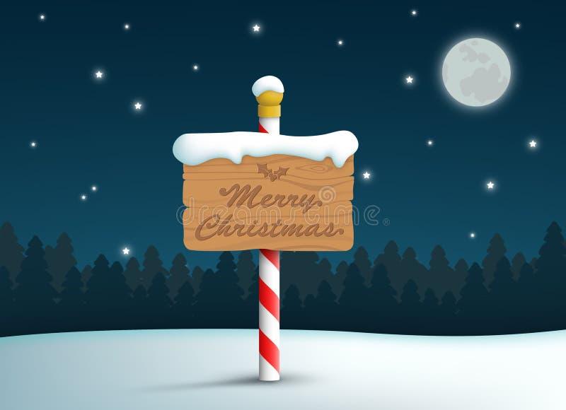 Feliz Navidad Logo Wooden Sign On Pole con el fondo de la nieve y de las estrellas stock de ilustración