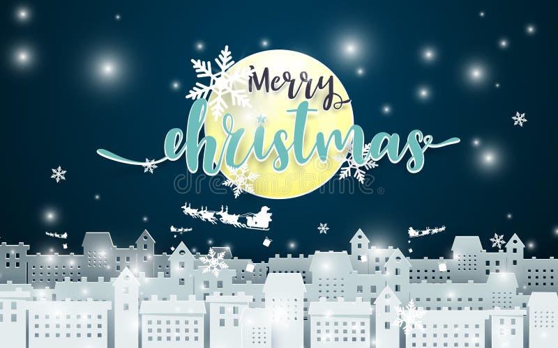 Feliz Navidad Luna y Santa Claus Driving en un trineo sobre ciudad en el fondo del seance de la noche estilo de papel del arte stock de ilustración