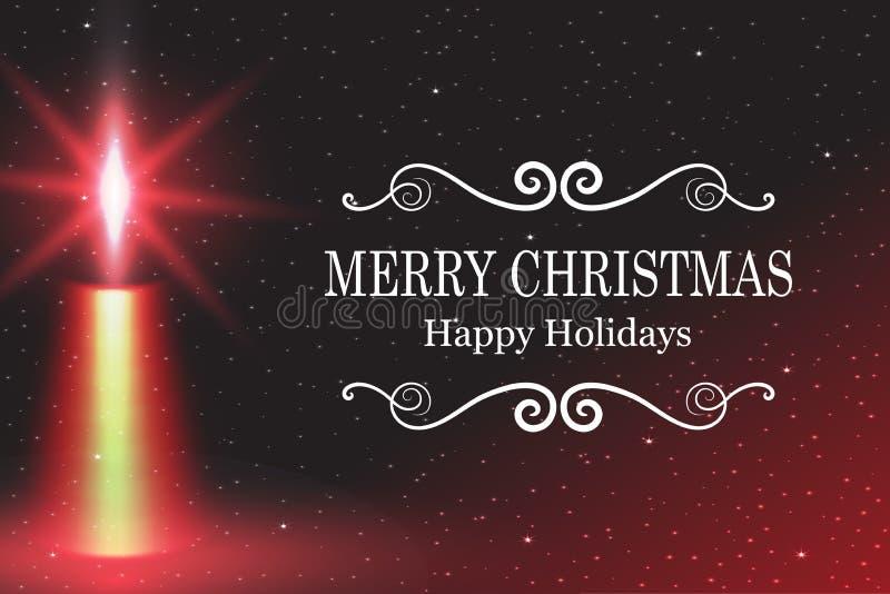Feliz Navidad, luz del fuego de la llama de vela del ejemplo del vector con nieve que cae ilustración del vector