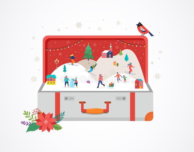 Feliz Navidad, maleta abierta grande con escena del invierno y la pequeña gente, hombres jovenes y mujeres, familias que se divie libre illustration