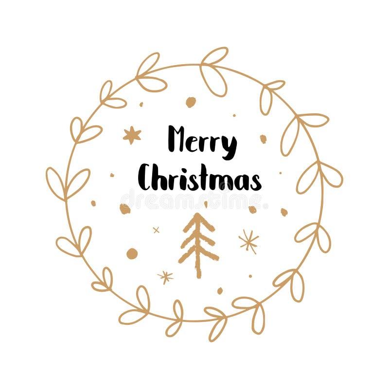 Feliz Navidad, mano dibujada poniendo letras a la fuente del estilo libre illustration