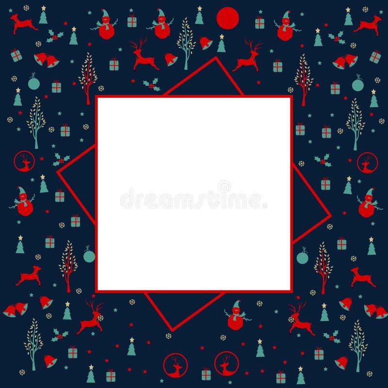 Feliz Navidad, marco de la Navidad con los iconos de Navidad ilustración del vector