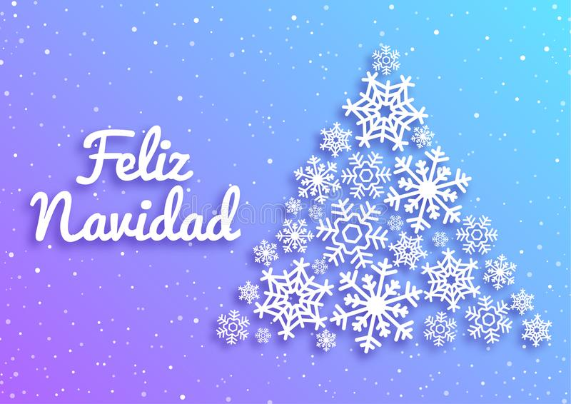 Feliz Navidad. Merry Christmas card with greetings in spanish language. Christmas tree made of white snowflakes. Xmas stock illustration