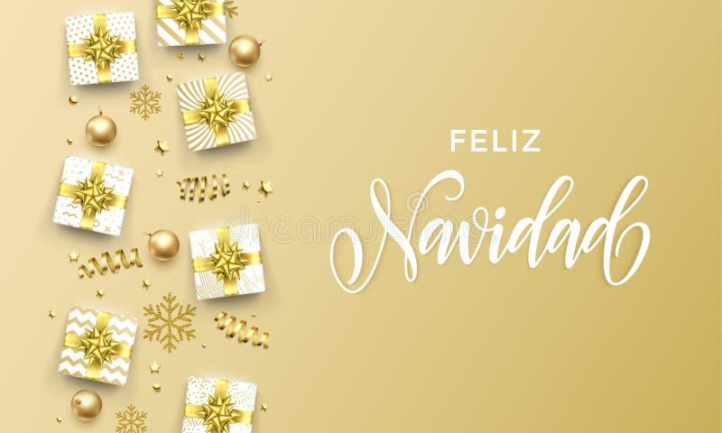 Feliz Navidad Merry Christmas golden greeting card on premium background. Vector Christmas Spanish Navidad calligraphy lettering, vector illustration