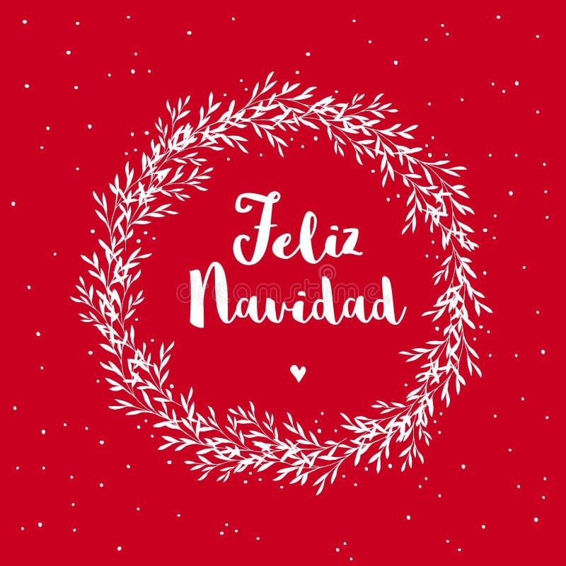 Feliz Navidad - Merry Christmas. Spanish Christmas Vector Card. stock illustration