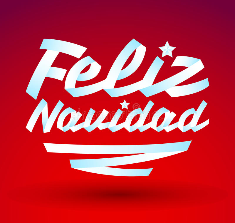 Feliz Navidad - Merry Christmas spanish text stock illustration