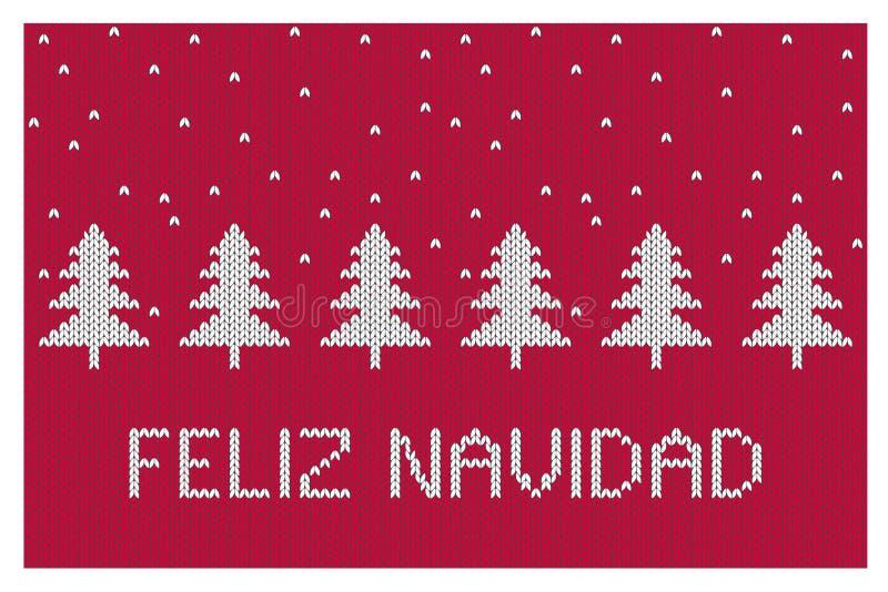 Feliz Navidad-Merry Christmas Vector Illustration Abstracte Witte Kerstbomen vector illustratie