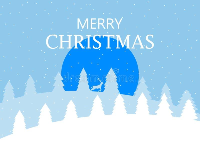 Feliz Navidad Paisaje del invierno con los copos de nieve y los árboles de navidad Ciervos en el fondo de Navidad del bosque Vect libre illustration