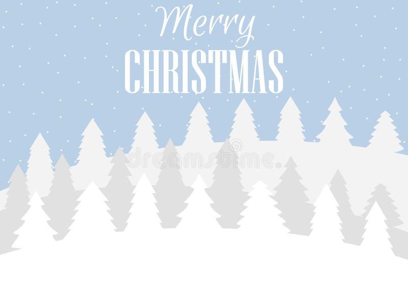 Feliz Navidad Paisaje del invierno con los copos de nieve y los árboles de navidad Fondo de Navidad Vector libre illustration