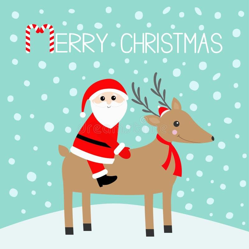 Feliz Navidad Papá Noel _2 Ciervos lindos con los cuernos, sombrero rojo, bufanda de la historieta Bastón de caramelo Cabeza de R ilustración del vector
